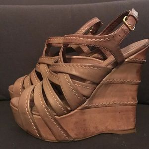 Miu Miu Leather Platform Wedge Sandal 38 1/2